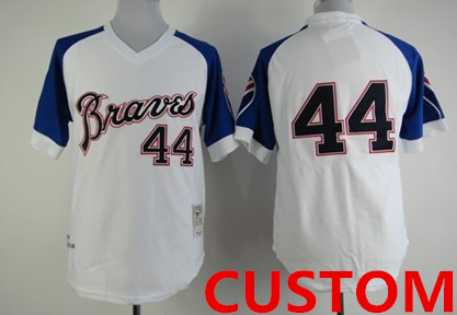 Custom Atlanta Braves 1974 White Throwback Jersey