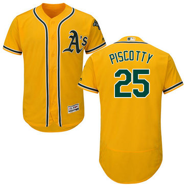 Oakland Athletics #25 Stephen Piscotty Gold Flexbase Authentic Collection Stitched MLB Jersey