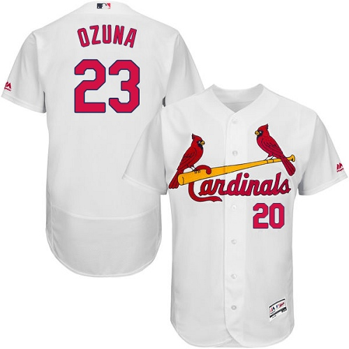 St. Louis Cardinals #23 Marcell Ozuna White Flexbase Authentic Collection Stitched MLB Jersey