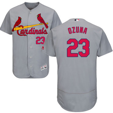 St. Louis Cardinals #23 Marcell Ozuna Grey Flexbase Authentic Collection Stitched MLB Jersey