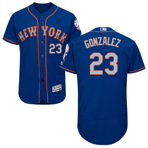 New York Mets #23 Adrian Gonzalez Blue(Grey NO.) Flexbase Authentic Collection Stitched MLB Jersey