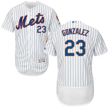 New York Mets #23 Adrian Gonzalez White(Blue Strip) Flexbase Authentic Collection Stitched MLB Jersey