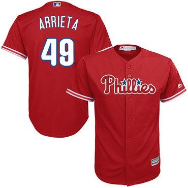 Philadelphia Phillies #49 Jake Arrieta Red New Cool Base Stitched MLB Jersey
