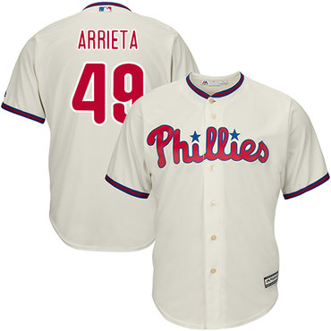 Philadelphia Phillies #49 Jake Arrieta Cream New Cool Base Stitched MLB Jersey