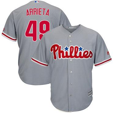 Philadelphia Phillies #49 Jake Arrieta Grey New Cool Base Stitched MLB Jersey