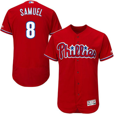 Philadelphia Phillies #8 Juan Samuel Red Flexbase Authentic Collection Stitched MLB Jersey