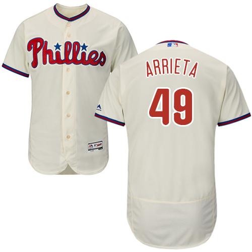 Philadelphia Phillies #49 Jake Arrieta Cream Flexbase Authentic Collection Stitched MLB Jersey