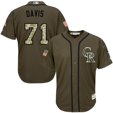 Colorado Rockies #71 Wade Davis Green Salute to Service Stitched MLB Jersey