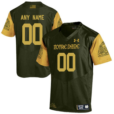 Notre Dame Fighting Irish Olive Green Men's Customized College Football Jersey