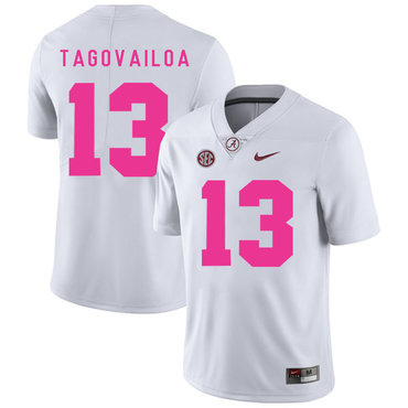 Alabama Crimson Tide 13 Tua Tagovailoa White 2017 Breast Cancer Awareness College Football Jersey