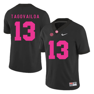 Alabama Crimson Tide 13 Tua Tagovailoa Black 2017 Breast Cancer Awareness College Football Jersey
