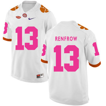 Clemson Tigers 13 Hunter Renfrow White Breast Cancer Awareness College Football Jersey