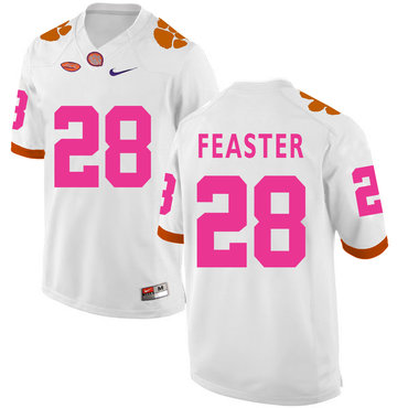 Clemson Tigers 28 Tavien Feaster White Breast Cancer Awareness College Football Jersey