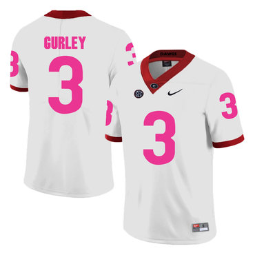 Georgia Bulldogs 3 Todd Gurley White Breast Cancer Awareness College Football Jersey