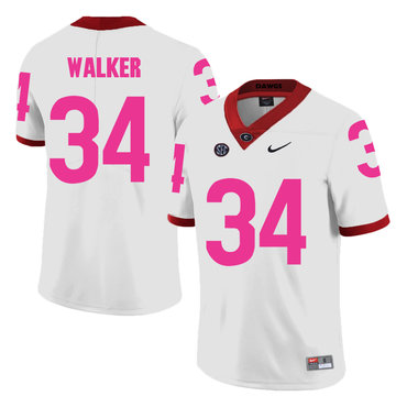 ad5f350c600 Georgia Bulldogs 34 Herschel Walker White Breast Cancer Awareness College Football  Jersey