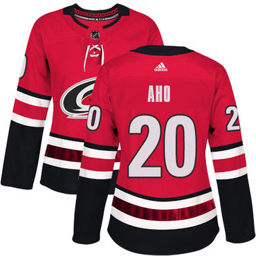 Adidas Carolina Hurricanes #20 Sebastian Aho Red Home Authentic Women's Stitched NHL Jersey