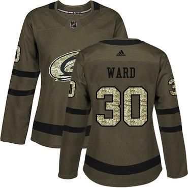 Adidas Carolina Hurricanes #30 Cam Ward Green Salute to Service Women's Stitched NHL Jersey