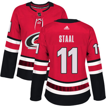 Adidas Carolina Hurricanes #11 Jordan Staal Red Home Authentic Women's Stitched NHL Jersey