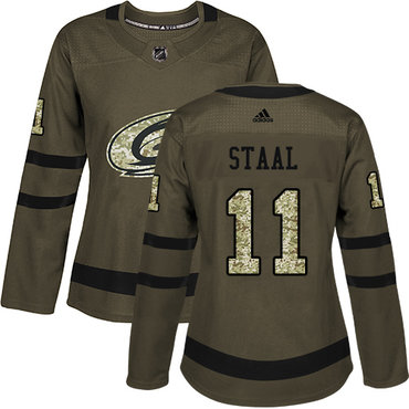 Adidas Carolina Hurricanes #11 Jordan Staal Green Salute to Service Women's Stitched NHL Jersey