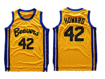 Teen Wolf Beavers 42 Scott Howard Gold Stitched Movie Jersey