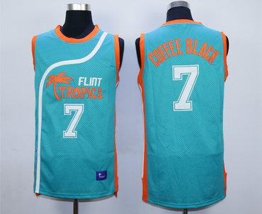 Flint Tropics 7 Coffe Black Teal Semi Pro Movie Stitched Basketball Jersey