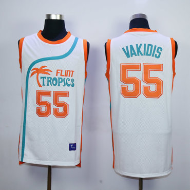Flint Tropics 55 Vakidis White Semi Pro Movie Stitched Basketball Jersey