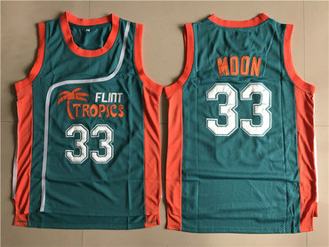Flint Tropics 33 Jackie Moon Teal Semi Pro Movie Stitched Basketball Jersey