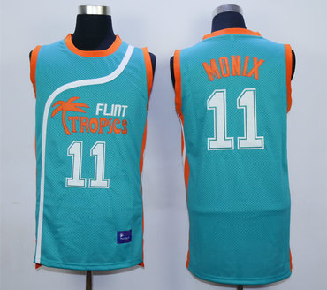 Flint Tropics 11 Ed Monix Teal Semi Pro Movie Stitched Basketball Jersey