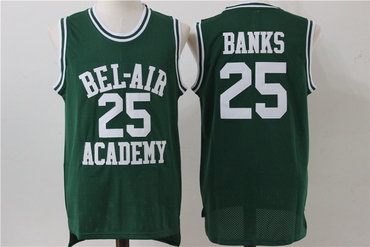 Bel-Air Academy 25 Banks Green Stitched Basketball Jersey