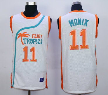 Flint Tropics 11 Ed Monix White Semi Pro Movie Stitched Basketball Jersey