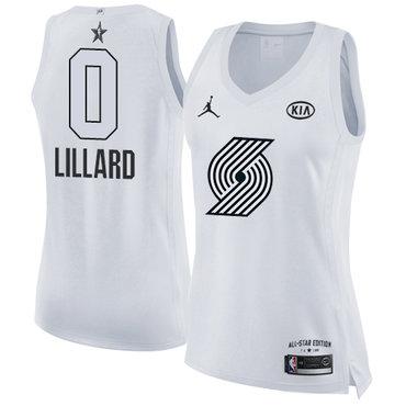Nike Portland Trail Blazers #0 Damian Lillard White Women's NBA Jordan Swingman 2018 All-Star Game Jersey