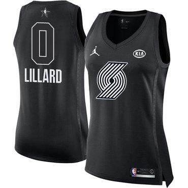 Nike Portland Trail Blazers #0 Damian Lillard Black Women's NBA Jordan Swingman 2018 All-Star Game Jersey