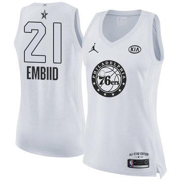 Nike Philadelphia 76ers #21 Joel Embiid White Women's NBA Jordan Swingman 2018 All-Star Game Jersey