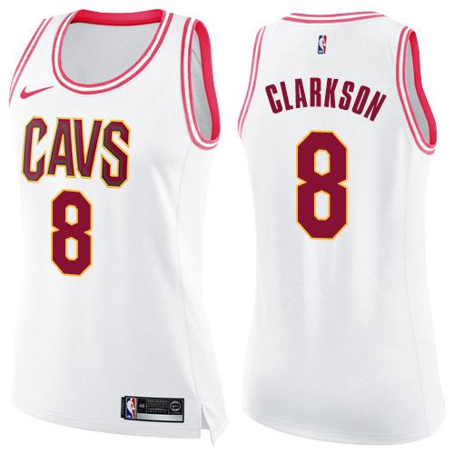 Nike Cleveland Cavaliers #8 Jordan Clarkson White Pink Women's NBA Swingman Fashion Jersey