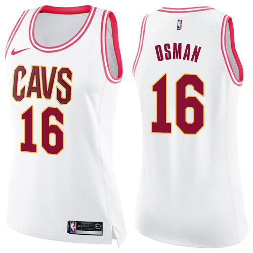 Nike Cleveland Cavaliers #16 Cedi Osman White Pink Women's NBA Swingman Fashion Jersey