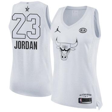 Nike Chicago Bulls #23 Michael Jordan White Women's NBA Jordan Swingman 2018 All-Star Game Jersey