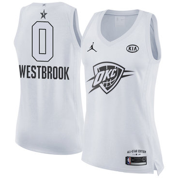 Nike Oklahoma City Thunder #0 Russell Westbrook White Women's NBA Jordan Swingman 2018 All-Star Game Jersey