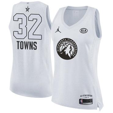 Nike Minnesota Timberwolves #32 Karl-Anthony Towns White Women's NBA Jordan Swingman 2018 All-Star Game Jersey
