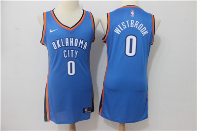 Nike Oklahoma City Thunder #0 Russell Westbrook Blue Women Swingman Jersey