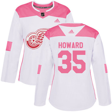 003305cf2 Adidas Detroit Red Wings  35 Jimmy Howard White Pink Authentic Fashion  Women s Stitched NHL Jersey