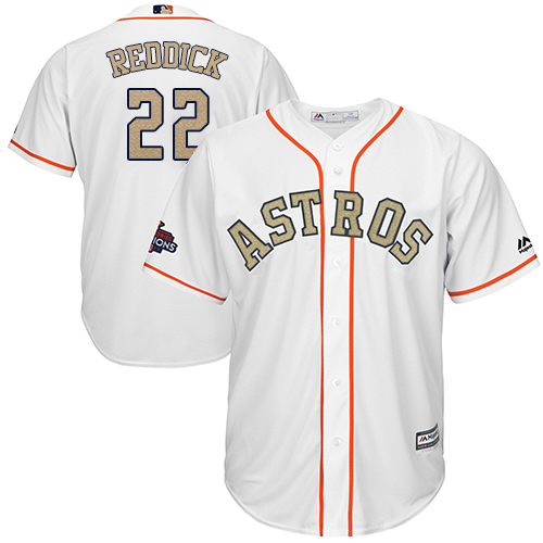 Houston Astros #22 Josh Reddick White 2018 Gold Program Cool Base Stitched MLB Jersey