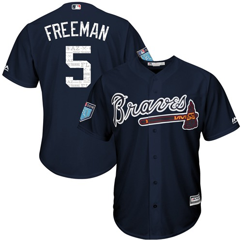 Atlanta Braves #5 Freddie Freeman Navy Blue 2018 Spring Training Cool Base Stitched MLB Jersey