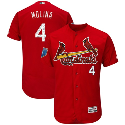 St. Louis Cardinals #4 Yadier Molina Red 2018 Spring Training Authentic Flex Base Stitched MLB Jersey