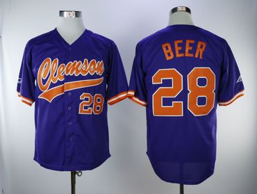 Clemson Tigers #28 Seth Beer Purple College Baseball Jersey