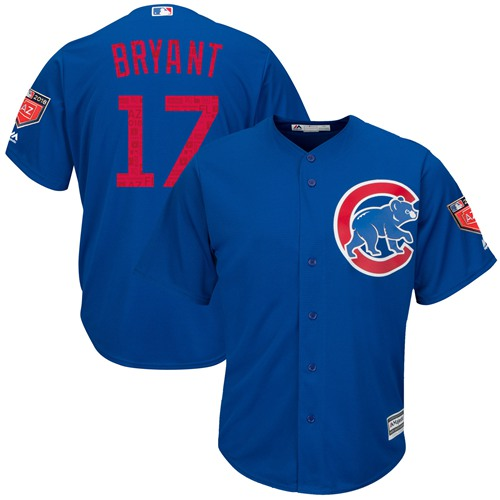 Chicago Cubs #17 Kris Bryant Blue 2018 Spring Training Cool Base Stitched MLB Jersey