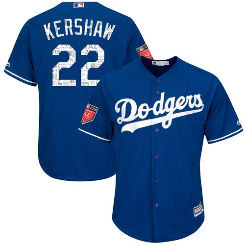 Los Angeles Dodgers #22 Clayton Kershaw Blue 2018 Spring Training Cool Base Stitched MLB Jersey
