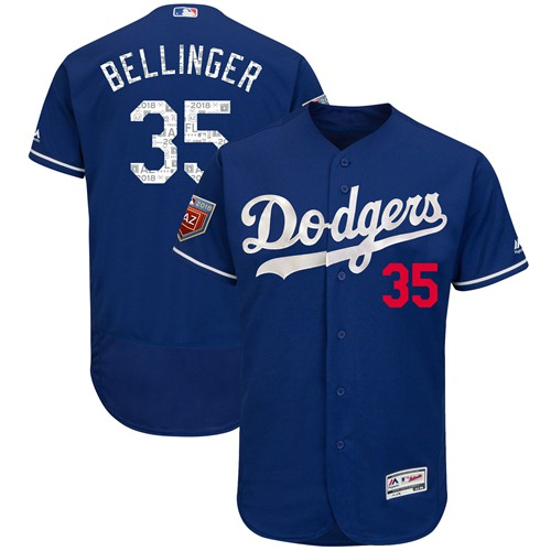 Los Angeles Dodgers #35 Cody Bellinger Blue 2018 Spring Training Authentic Flex Base Stitched MLB Jersey
