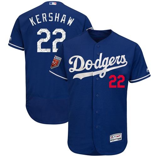 Los Angeles Dodgers #22 Clayton Kershaw Blue 2018 Spring Training Authentic Flex Base Stitched MLB Jersey