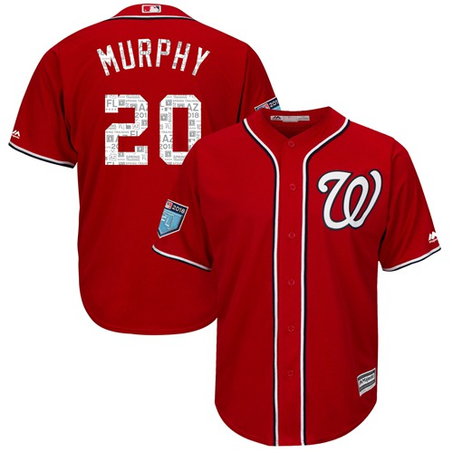 Washington Nationals #20 Daniel Murphy Red 2018 Spring Training Cool Base Stitched MLB Jersey