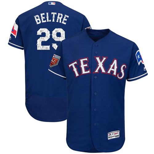 Texas Rangers #29 Adrian Beltre Blue 2018 Spring Training Authentic Flex Base Stitched MLB Jersey